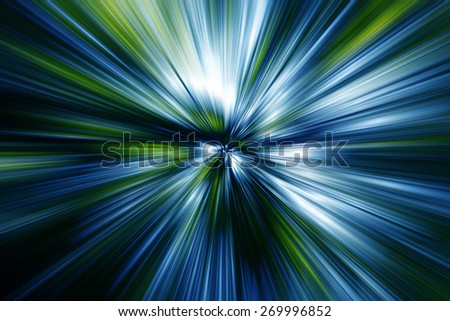 sun rays in forest,sun beams in green forest,abstract green background - stock photo