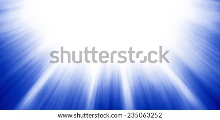 sun rays or sun beams background, bright sunshine shining in the sky, zoomed filter effect, glowing brilliant streaks of light, abstract blue artsy background - stock photo