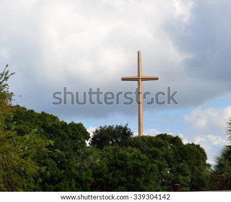 Sun reflecting on the Great Cross at historic St. Augustine, Florida. - stock photo