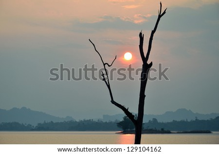 Sun, reservoir, Khao Laem National Park, Kanchanaburi, Thailand - stock photo