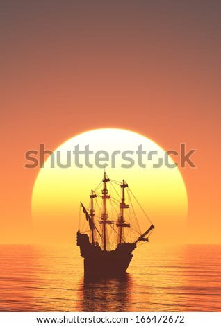 sun rise and  sailing boat