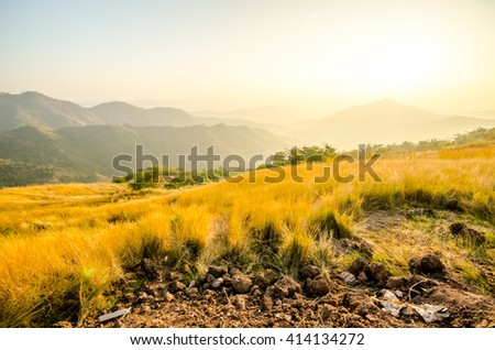 Sun rise at mountain and Meadow located in hillside villages, Khao Kho, Phetchabun Thailand - stock photo