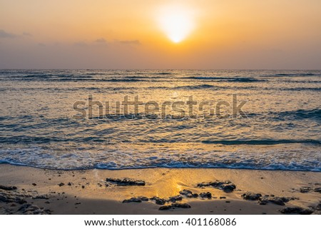 Sun rising at Marsa Alam, Egypt - stock photo