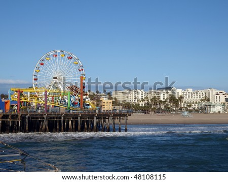 Sun, sea, sand, and fun in Santa Monica California. - stock photo