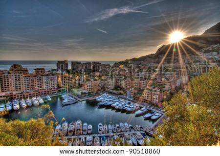 Sun sets over Cap d'Ail, France - stock photo