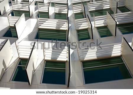 Sun shields outside the windows of a newly constructed office building in Canberra, Australia