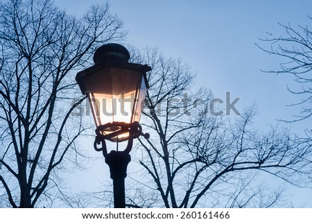 sun shining through a retro style street lantern, surrounded by bare trees in winter - stock photo