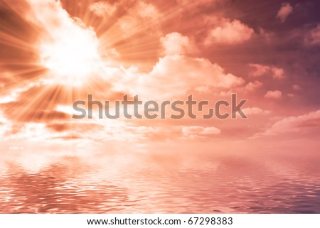 sun shining through clouds over boundless water, red light - stock photo