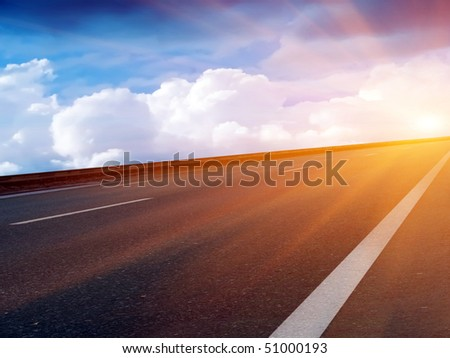 Sun  sky  clouds  road - stock photo