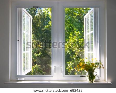 sun splushed window - stock photo