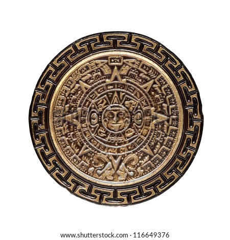 sun stone or aztec calendar on white background