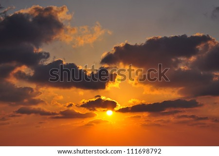 sun, sunset, clouds - stock photo