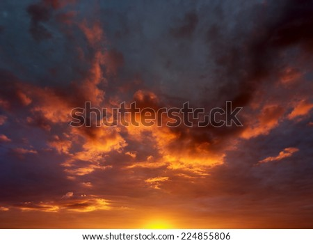 Sun, Sunset, Clouds, panoramic background - stock photo