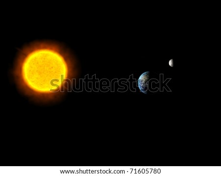Sun system with The Sun, Earth and Moon - stock photo
