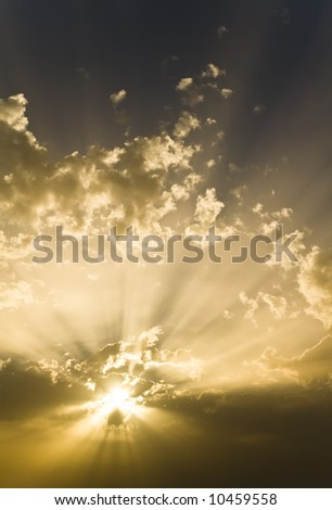 Sun under cloudscape, celestial background - stock photo