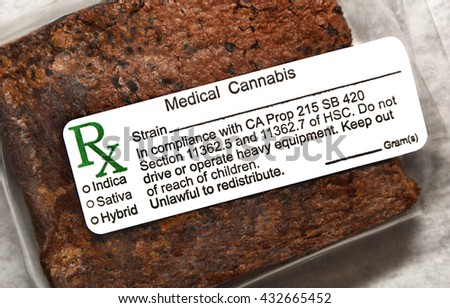 SUN VALLEY, CA - MAY 26, 2016: An edible medical marijuana brownie labeled and packaged for sale at a medical marijuana dispensary in Sun Valley, CA on May 26, 2016.