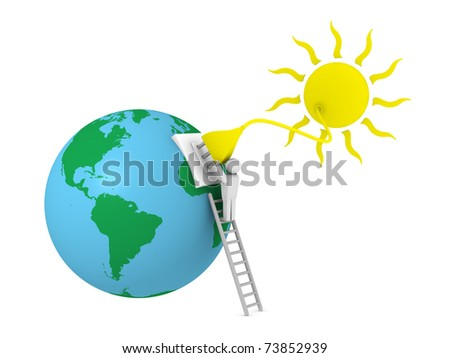 sun with a plug that supplies power to the earth planet - stock photo
