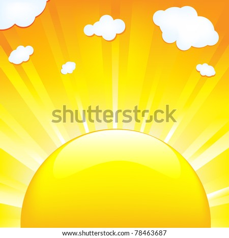 Sun With Beams - stock photo