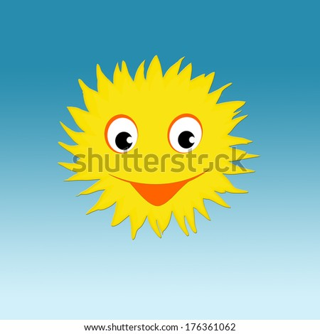 Sun with happy smiling face  - stock photo