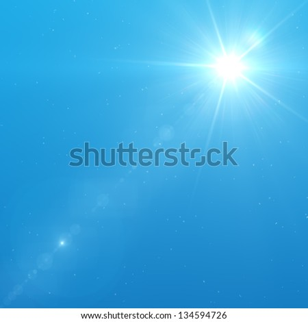 Sun with lens flare and dust. - stock photo