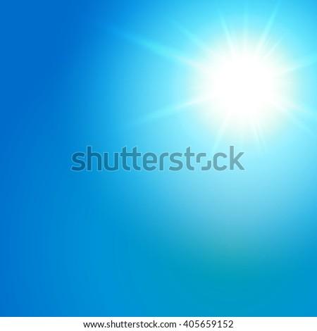 Sun with lens flare, solar background, sunlight vibrant, tropical solar - stock photo