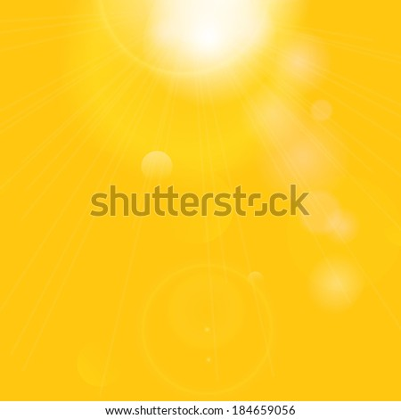Sun with lens flare. Summer background.