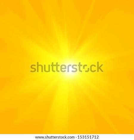 sun, yellow background, rays - stock photo