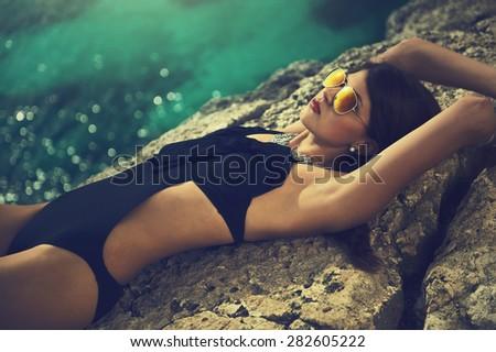 sunbathing - stock photo