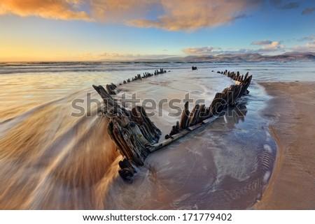 Sunbeam, Wreck at the Rossbeigh Beach, Co. Kerry, Ireland - stock photo