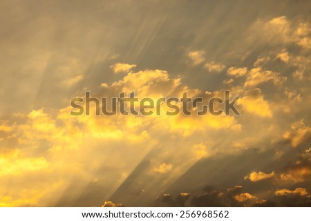 sunbeams and clouds , Solar beams - stock photo
