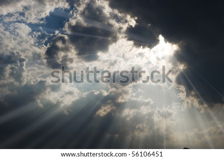 Sunbeams coming through the couds