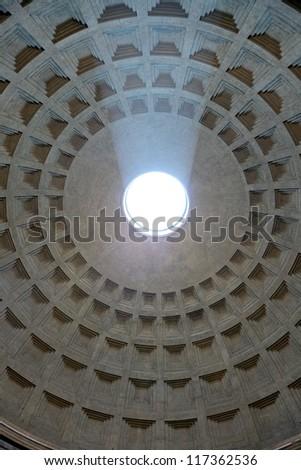 Sunbeams falling in Pantheon, Rome,Italy - stock photo