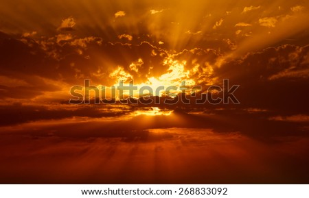 sunbeams in the clouds - stock photo