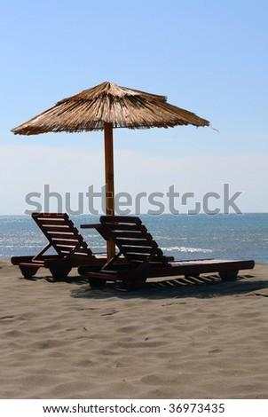 Sunbeds - stock photo