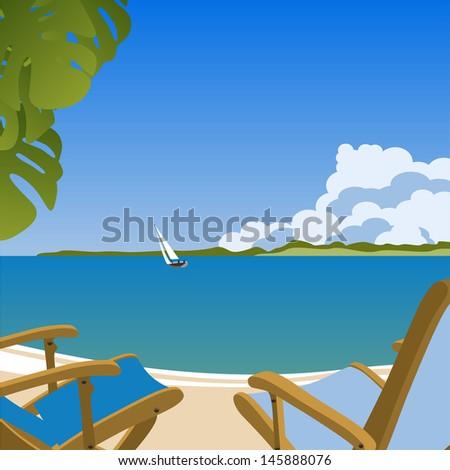 Sunbeds on the beach - stock photo