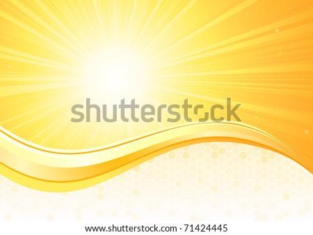 Sunburst background with honeycomb, illustration - stock photo
