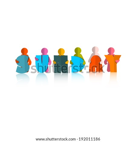 Sunday Colorful Title - Paper Cut People and Letters on White Background