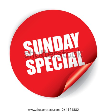 Sunday Special Sticker and Tag - stock photo