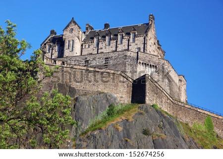Sundown at Edinburgh Castle , Scotland, UK - stock photo