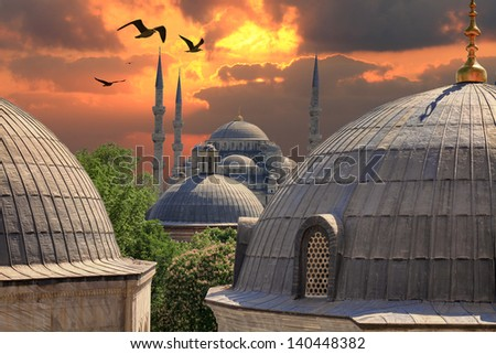 Sundown in Istanbul. Blue Mosque from the window of Hagia Sophia - stock photo