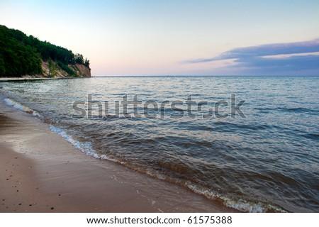Sundown on the Baltic sea, Poland, Europe - stock photo