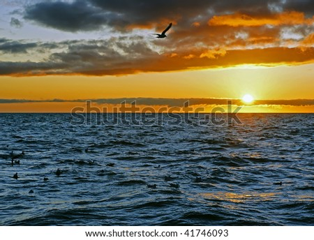 sundown over seawater