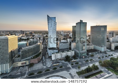 Sundown over Warszawa city, capital of Republic of Poland - stock photo