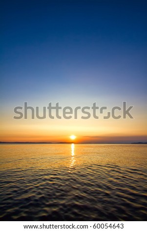 sundown seascape - stock photo