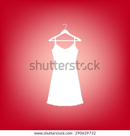 Sundress, Evening dress, combination or nightie on the wardrobe hanger , the silhouette. Menu item in the web design. Set of colored icons. - stock photo