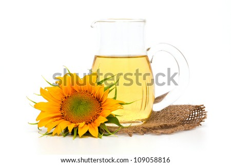 sunflower and sunflower oil - stock photo