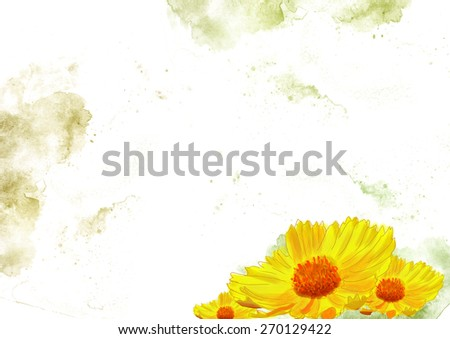 sunflower drawing, illustration of flowers grunge background. Yellow, flora, botany, natural, happy art design idea template - stock photo
