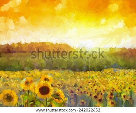 Sunflower flower blossom.Oil painting of a rural sunset landscape with a golden sunflower field. Warm light of the sunset and hill color in orange at the background.  - stock photo