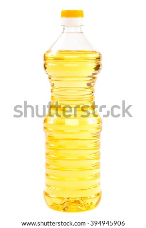 Sunflower oil in a bottle isolated on a white background. - stock photo
