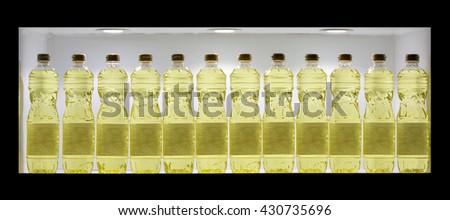 Sunflower oil in plastic bottle  - stock photo